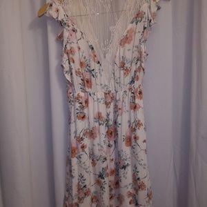 XHILERATION Brand floraln lace mini dress